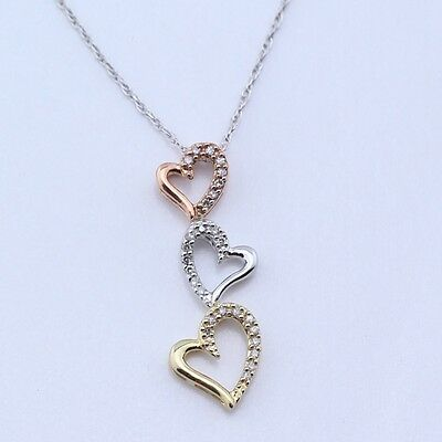"Sterling Silver | Diamond Accent Heart Trio Rope Chain | Necklace (18"")"