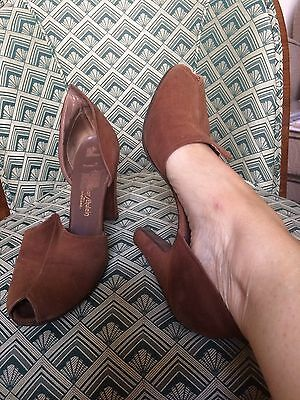 Vintage Brown Suede Shoes Peeptoe 1940s 50s Or Late 30s American 8A UK 6 6.5