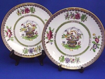 """Antique COPELAND SPODE - OLD BOW - 2 x LARGE SAUCERS / DISHES (6.25"""")  c1912"""