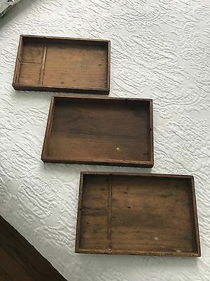 Vintage wooden trays- 16 total, watchmaker workspace trays