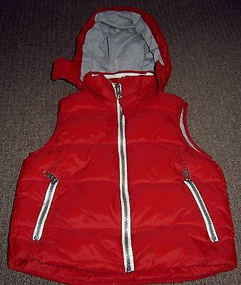 H&m Logg  Boys Red Hooded Puffer Vest Sz 6