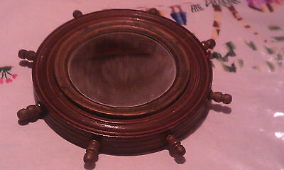 Antique Wood Ship's Wheel Wall Mirror Brass Spokes