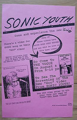 """Original SONIC YOUTH """"Goo"""" video screening flyer 8/8/1990 at the Vogue Seattle"""