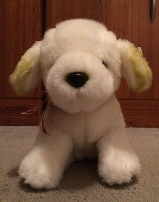 "Russ Berrie 9"" plush White Puppy Dog w plaid bow NUGGET"