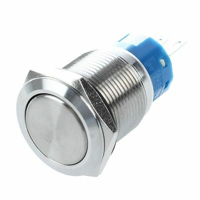 19mm Stainless Round Latching Push Button Switch 3 Pin 5A 250V AC PK