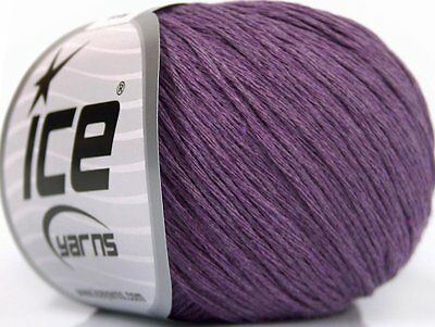 Lot of 8 Skeins Ice Yarns NATURAL COTTON BABY (100% Cotton) Yarn Lavender