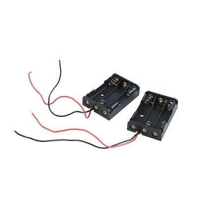 2 Pcs Black Plastic Battery Holder Case Wired for 3 x AAA 1.5V CP