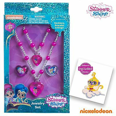 Shimmer and Shine Girls Jewelry Set Necklace Bracelet Rings