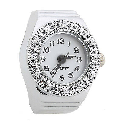 Ring Watch Quartz Silver Alloy Round Sphere for Women Dame U1X7