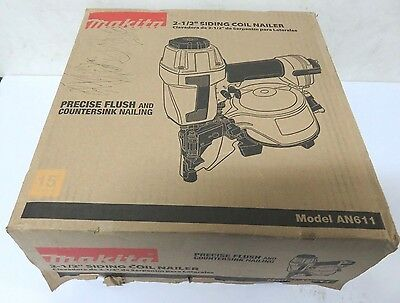 NEW Makita AN611 2 1/2 in. 15 Degree Siding Coil Nailer Air Nail Gun