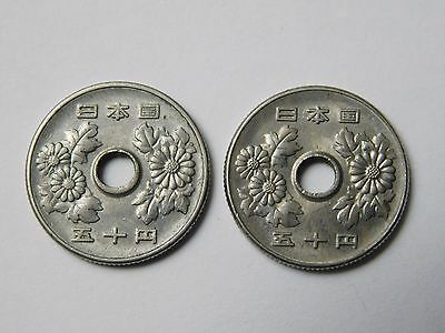 Lot of 2 1967 1969 Showa 42 44 50 Yen Japan coin foreign (1554)