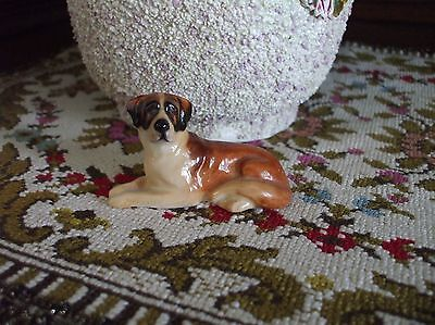 Vintage St. Bernard Dog Royal Doulton England Lying Down Porcelain Figurine