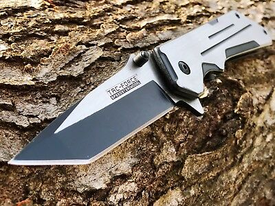 TAC FORCE TANTO BLADE SPRING ASSISTED TACTICAL SATIN Folding Pocket Knife Switch