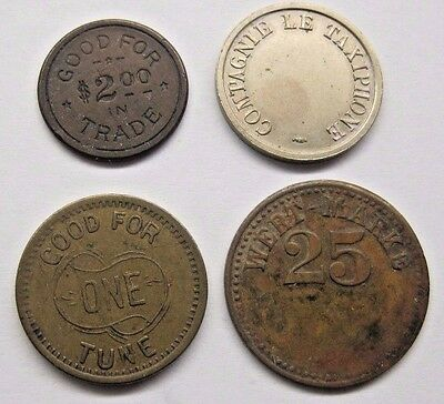 Lot of 4 Misc. Tokens.  See Details and Pictures for Descriptions / Condition.