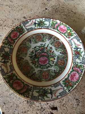 Antique Chinese Rose Medallion Hand Painted Porcelain Plate 8.5 Inches