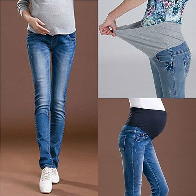 Pregnant Mum Winter Bump Maternity Warm Elastic Trousers Jeans Leggings Pants