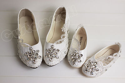 Wedding Bridal Flower Girl Shoes  Ballet Flats Lace Wedding Baby Shoes