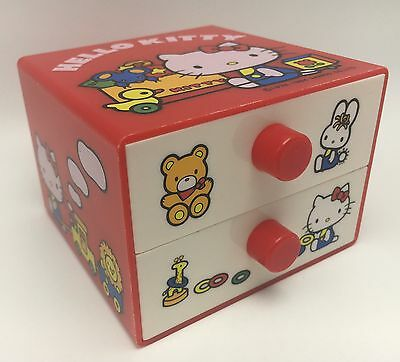Vintage Hello Kitty Sanrio Jewelry Trinket Box Two Drawers Red and White