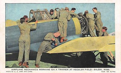 Postcard Airplane Mechanics Working on a Trainer at Keesler Field Biloxi~112340