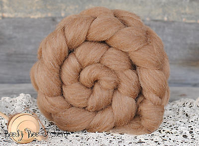 MANX LOAGHTAN Undyed Natural Brown Combed Top Wool Roving Spinning Felting -4 oz