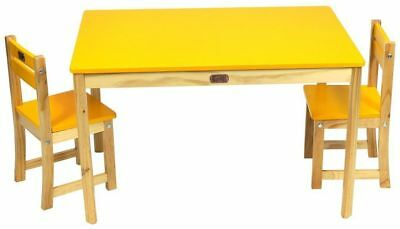 Children's Table & Chairs Rectangular Table & 2 Chair Set Yellow CLEARANCE