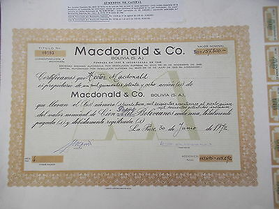 jb1678 vintage original 1972 stock certificate bolivia mc donald co