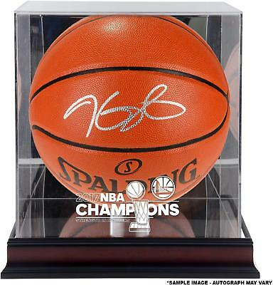 Kevin Durant GS Warriors Signed 2017 NBA Champs Basketball & Display Case