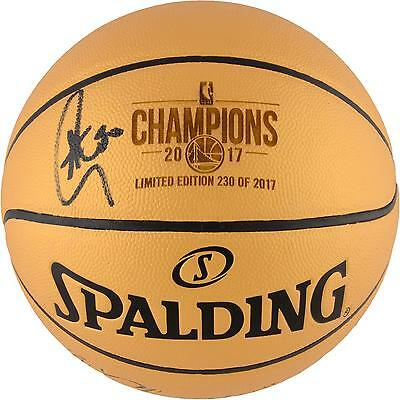 Stephen Curry GS Warriors Signed 2017 NBA Finals Champs Gold Basketball