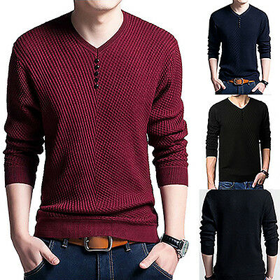 Men's Fashion Casual V Neck Long Sleeve Solid Sweater Pullover Knitwear Novelty