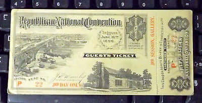 6/16-18/1896 St. Louis McKinley Republican National Convention Ticket