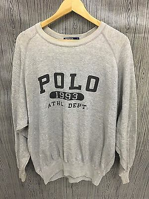 VINTAGE 1993 POLO RALPH LAUREN SWEATSHIRTS SWEATER Stadium Spell Out Sports