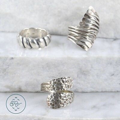 Sterling Silver | (QTY 3) Assorted Textured Band Bypass Rings 23.7g | Lot MU0013