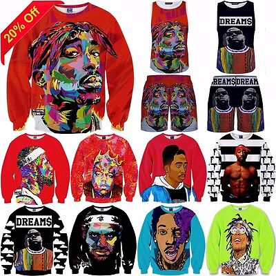 Hiphop 2pac Biggie Mens 3D T-shirt Sweatshirt Hoodies Top Pant Jumpers Tracksuit