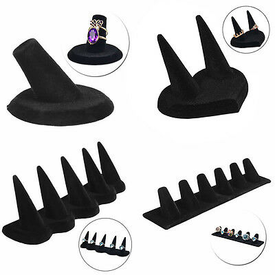 1/2/5/6 Finger Black Velvet Jewelry Ring Display Stand Holder Showcase Organizer
