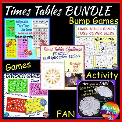 Educational Teaching Resource MATH TIMES TABLE GAMES BUNDLE CD PLAY and LEARN