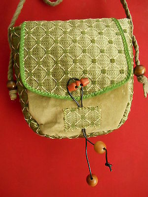 Custom-made shoulder bag - velvet & brocade - green -  pagan / LARP/ fairy