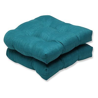 Pillow Perfect Outdoor/ Indoor Rave Teal Wicker Seat Cushion (Set of 2)