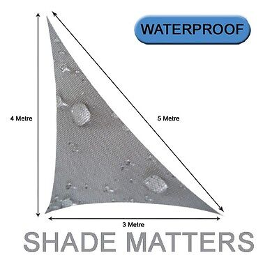 Waterproof Shade Sail 3m x 4m x 5m Grey Right Angle Triangle