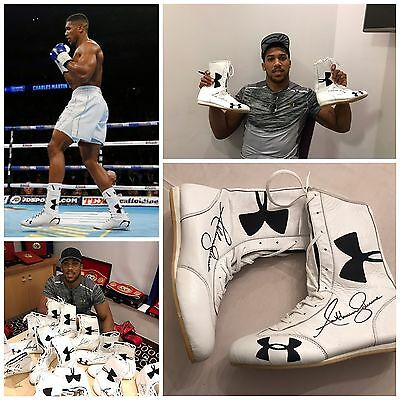 Anthony Joshua Signed Boxing Boot Exclusive Private Signing AFTAL COA