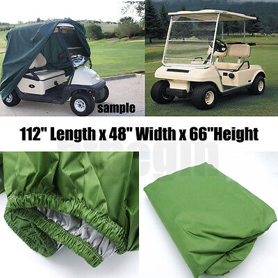 "112"" Green Storage Golf Cart Cover 4-Passenger Fit EZ Go Club Car Yamaha Cart"