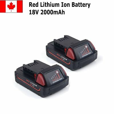 2 Pack M18 Battery For Milwaukee 48-11-1815 48-11-1840 18V Compact 2.0Ah