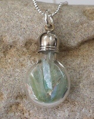 Roman Glass  Fragments  200 B.C Silver Pendent Ancient  in Glass bottle