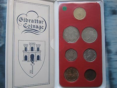 Gibraltar 1988 UNC 7 Coin Collection Set from 1/2 Penny to 1£ Pound in folder