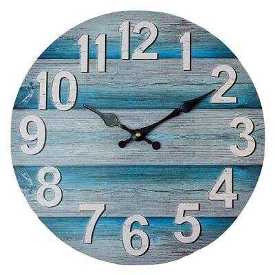 Round 34cm Teal and Grey Boards Wall Clock