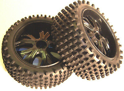 BS937-001 1/10 Scale RC Buggy Off Road Wheels and Tyres x 2 Black Front