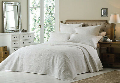White Luxury Embroidered Super King Size Quilted Bedspread Throw and Pillowshams