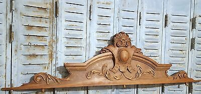 CARVED WOOD PEDIMENT HUGE ANTIQUE FRENCH COAT OF ARMS SALVAGE CARVING CREST 50in