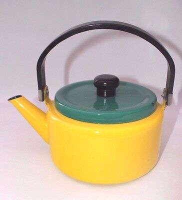 Kettle Enamel Kitchen Camping Yellow Green Vintage French buy  Folding handle OS