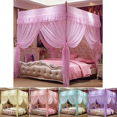 4 Corner Post Bed Curtain Canopy Mosquito Netting Or Bed Frame Twin Queen Size