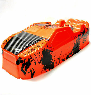 BS214-003O 1/10 Scale RC Nitro Monster Truck Truggy Body Shell Cover Orange PVC